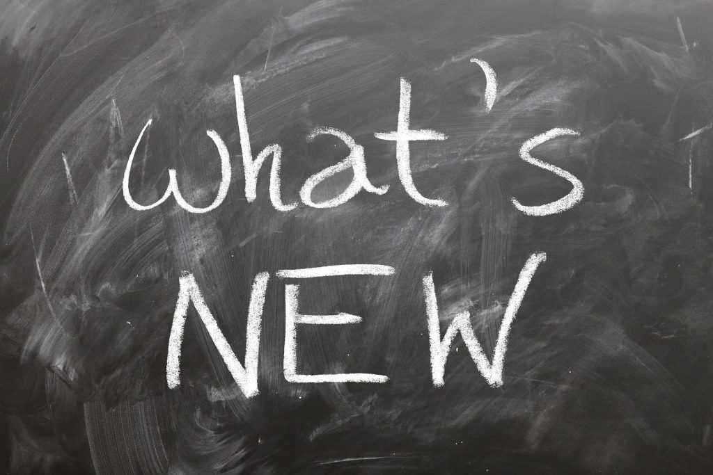 What's New Chalkboard Stock Photo
